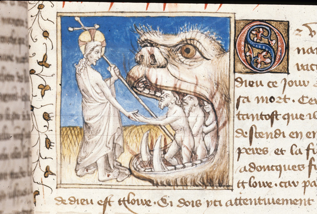 Harrowing of Hell from BL Royal 20 B IV, f. 137