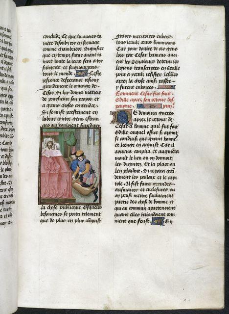 Haruspices interpreting Caesar's dream from BL Royal 16 G VIII, f. 39