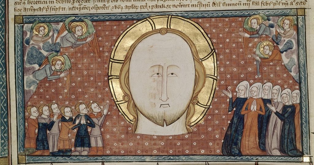 Head of Christ from BL Royal 6 E VI, f. 16v