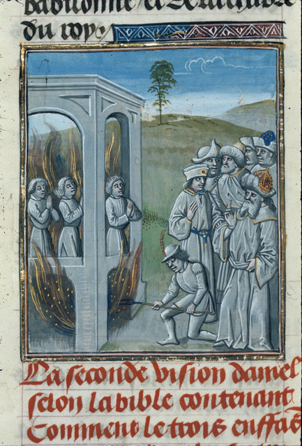 Hebrews in the furnace from BL Royal 15 D I, f. 39v