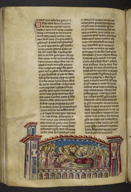 Hecuba mourning over Troilus from BL Royal 20 D I, f. 145v