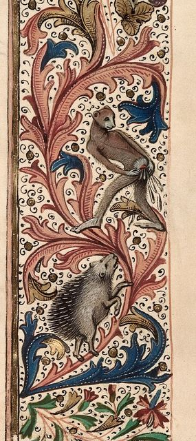 Hedgehog and ape from BL Royal 15 E IV, f. 180