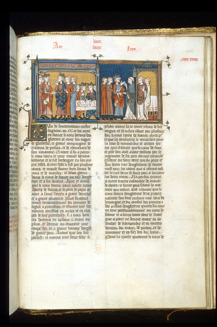 Henry III visiting Louis IX from BL Royal 16 G VI, f. 426
