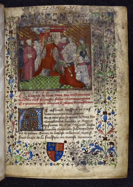 Henry V receiving the book from BL Royal 20 B IV, f. 1