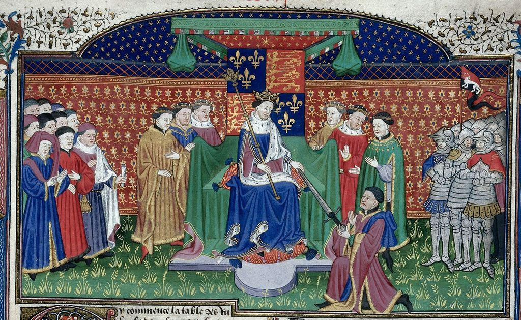 Henry VI enthroned from BL Royal 15 E VI, f. 405
