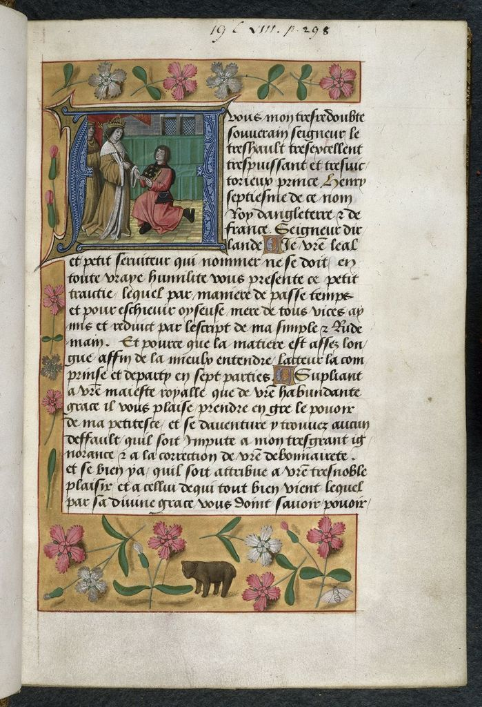 Henry VII receiving the book from BL Royal 19 C VIII, f. 1