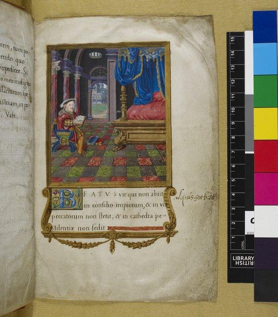 Henry VIII as David from BL Royal 2 A XVI, f. 3