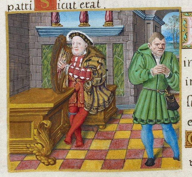 Henry VIII as David from BL Royal 2 A XVI, f. 63v
