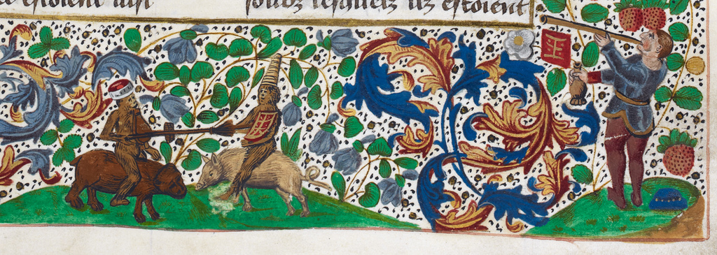 Herald and monkeys from BL Royal 14 E IV, f. 121