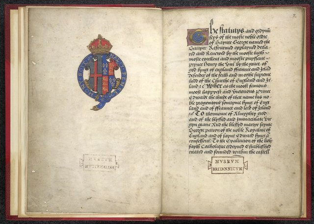 Heraldic arms and decorated initial from BL Lansdowne 783, ff. 1v-2