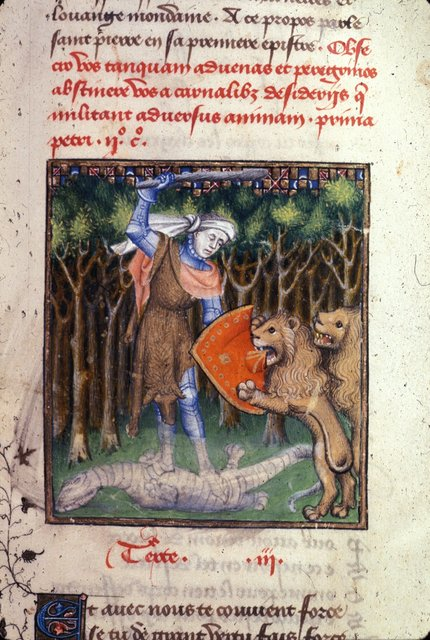 Hercules battling two lions from BL Harley 4431, f. 97