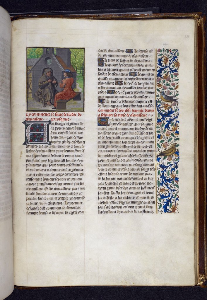 Hermit and knight from BL Royal 14 E II, f. 338