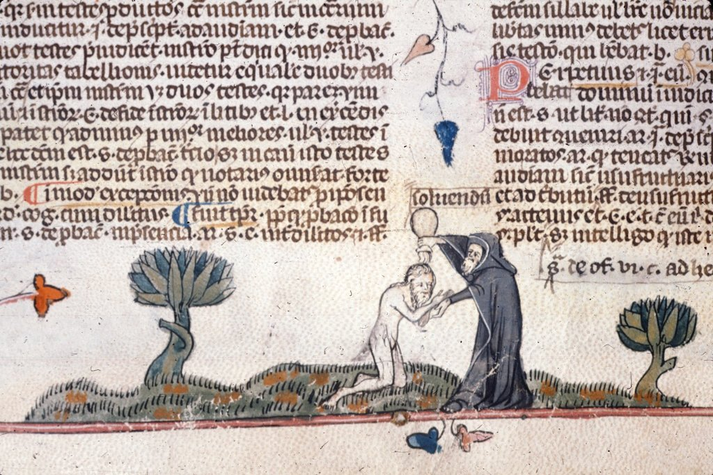 Hermit baptizing man from BL Royal 10 E IV, f. 133v