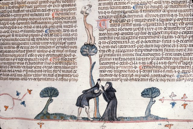 Hermit being clothed from BL Royal 10 E IV, f. 135
