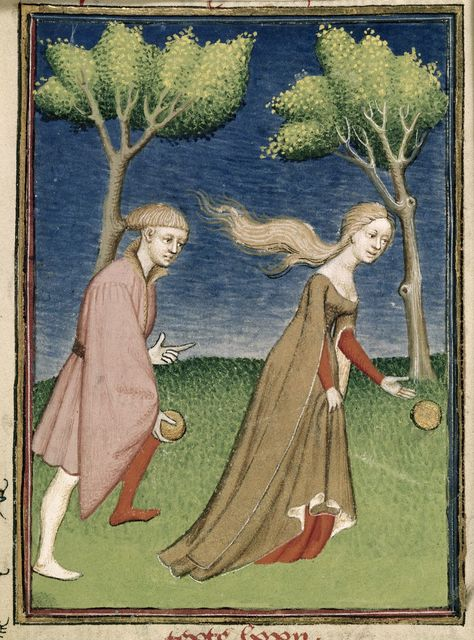 Hippomenes and Atalante from BL Harley 4431, f. 128
