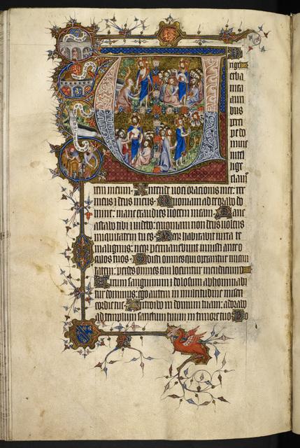 Historiated initial from BL Eg 3277, f. 145v