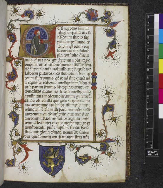 Historiated initial from BL Harley 2748, f. 3