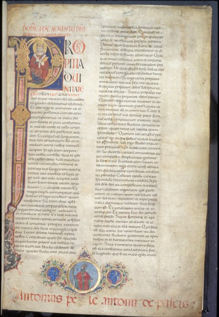 Historiated initial from BL Harley 7183, Vol. 1, f. 1