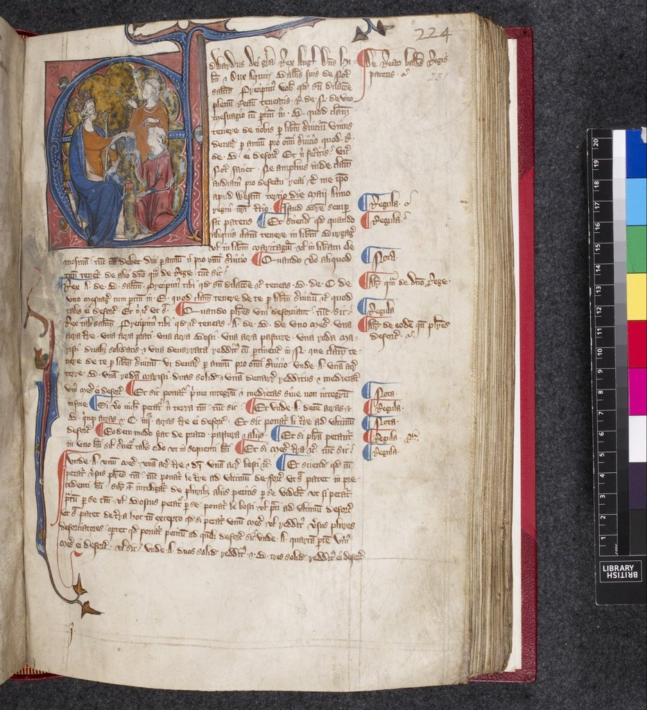 Historiated initial from BL Lansdowne 652, f. 231