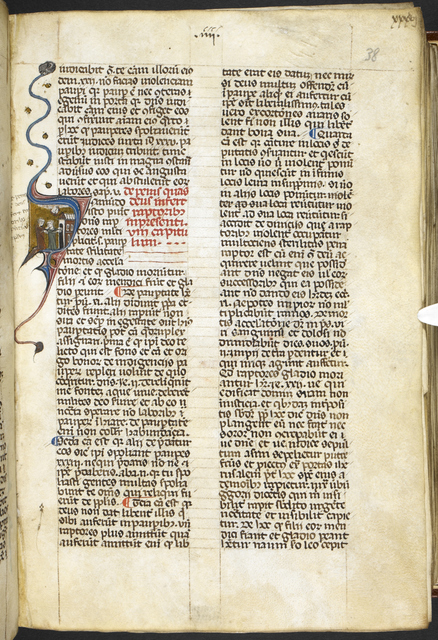 Historiated initial from BL Royal 12 D VII, f. 38