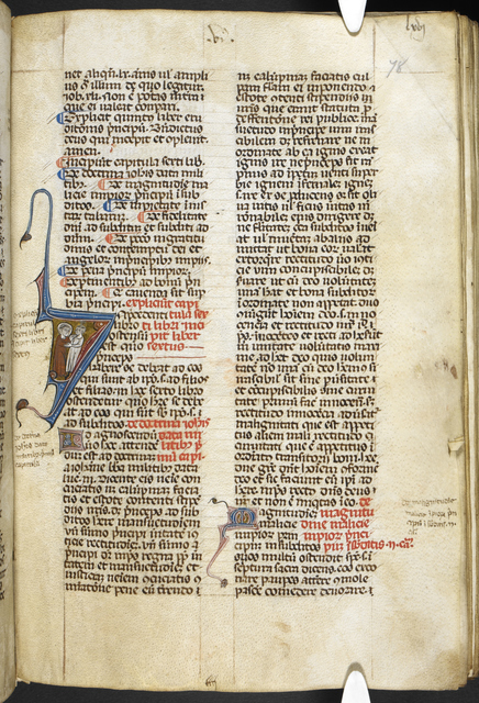 Historiated initial from BL Royal 12 D VII, f. 78