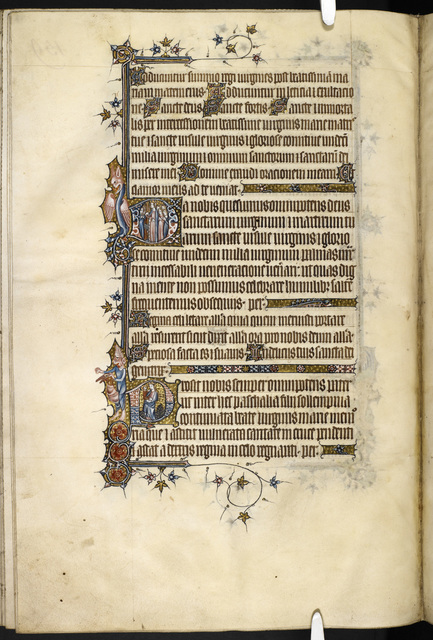 Historiated initials from BL Eg 3277, f. 165v