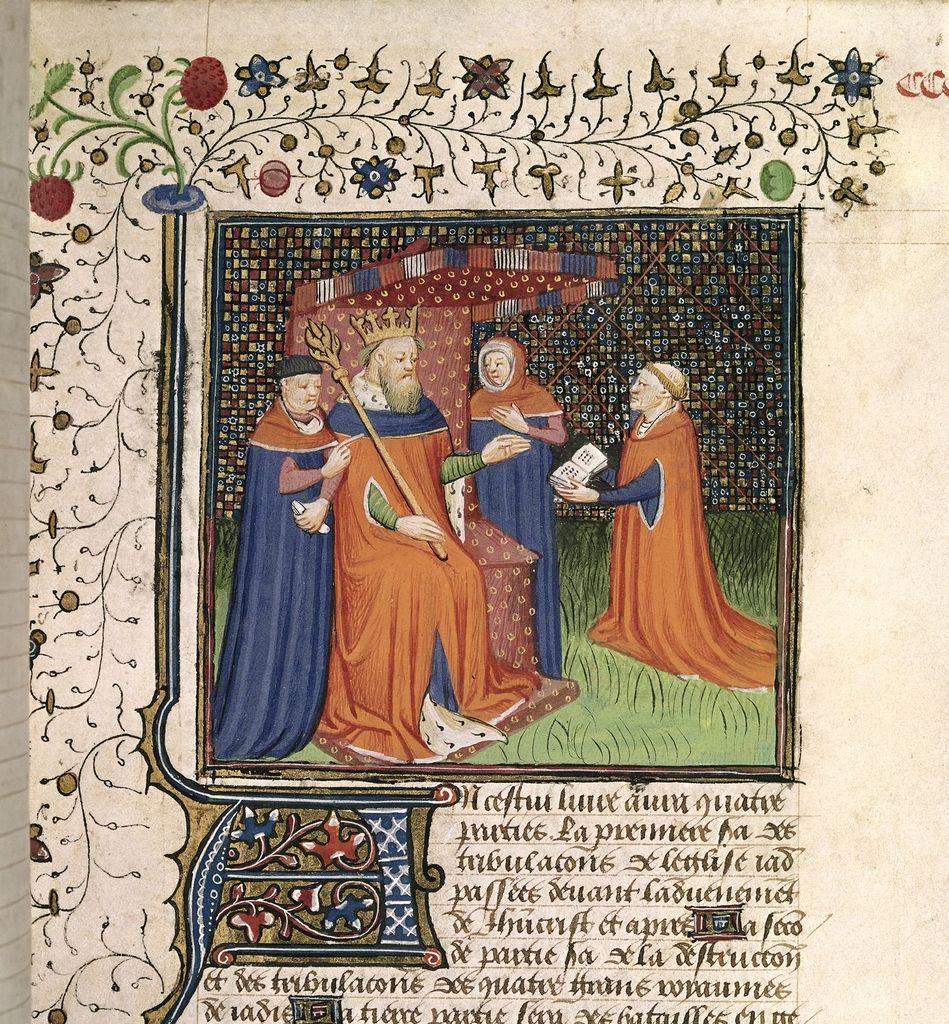 Honoré de Bonnet and Charles VI from BL Royal 15 E VI, f. 293