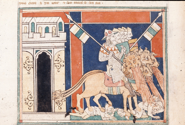 Horses and their riders from BL Royal 19 B XV, f. 16v