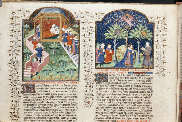 House of the Sun; trees of the sun, moon, and Phoenix from BL Royal 15 E VI, f. 18v