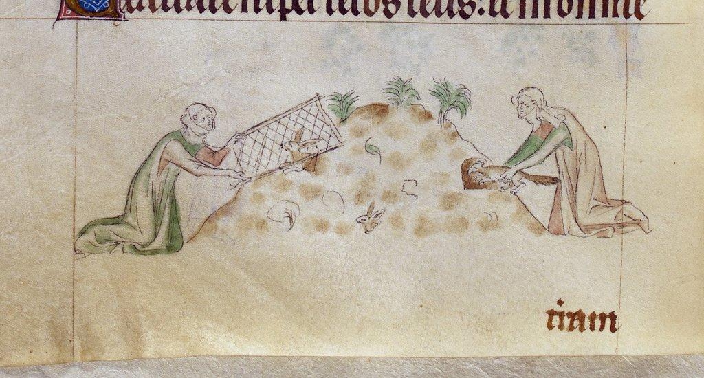 Hunting scene from BL Royal 2 B VII, f. 155v