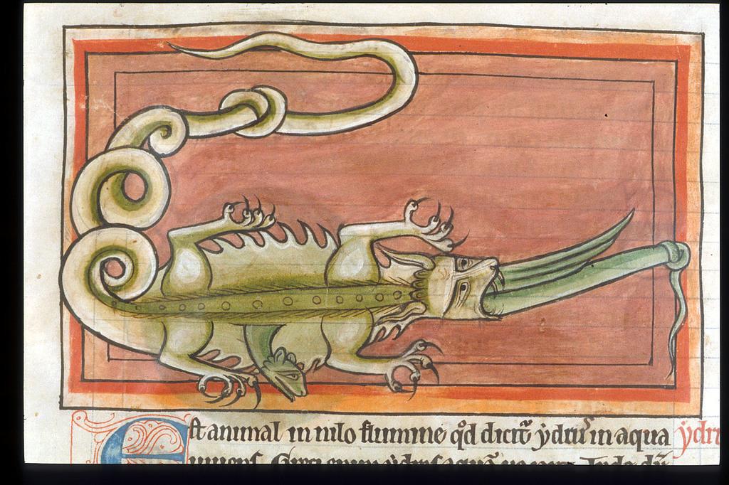 Hydra and crocodile from BL Harley 4751, f. 62v