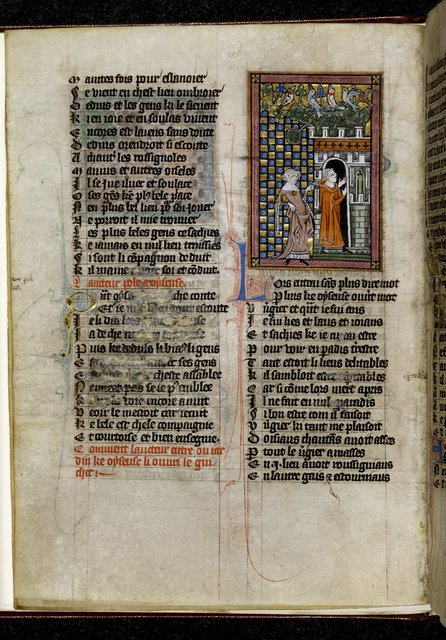 Idleness and the Lover from BL Royal 20 A XVII, f. 7v