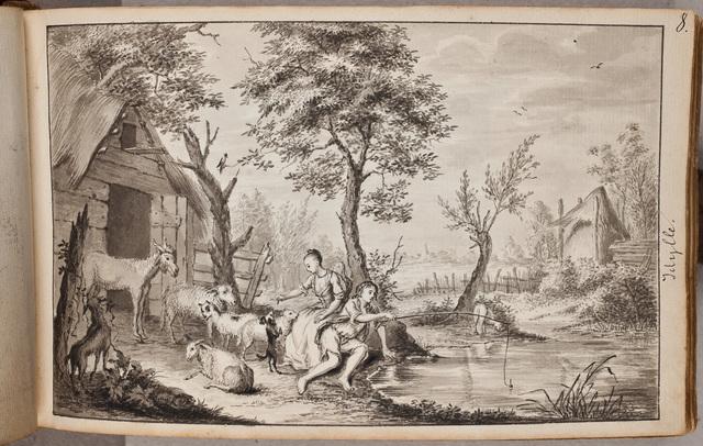 """""""Idylle"""": meisjes met vee bij een poel / door N.N."""