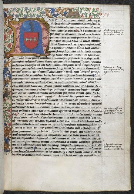 Illuminated initial from BL Arundel 93, f. 3