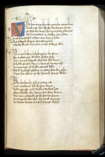 Illuminated initial from BL Harley 2278, f. 70