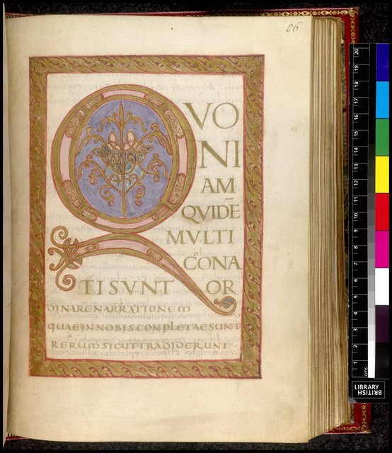 Illuminated initial from BL Harley 2797, f. 86