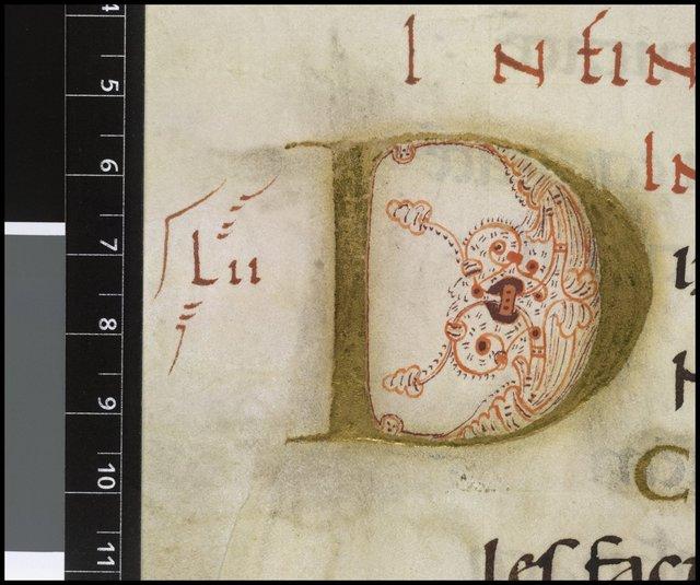 Illuminated initial from BL Harley 2904, f. 63v