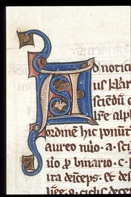 Illuminated initial from BL Harley 3735, f. 6