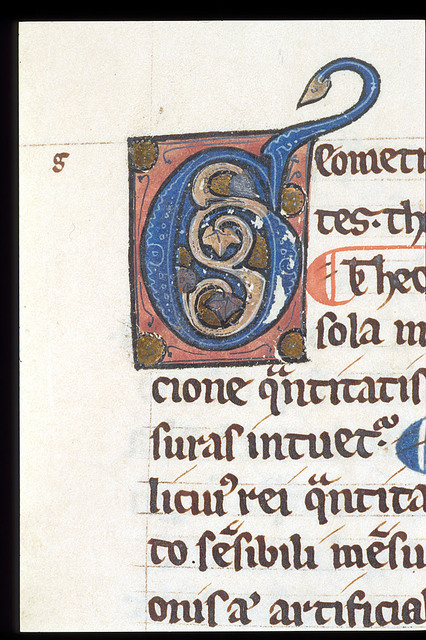 Illuminated initial from BL Harley 3735, f. 64
