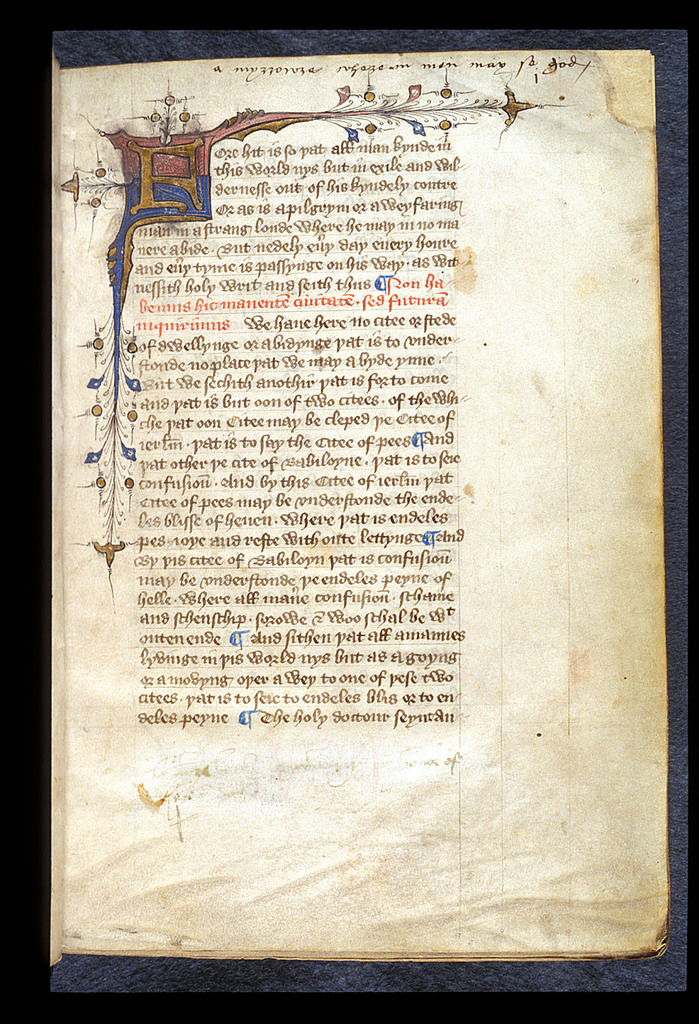 Illuminated initial from BL Harley 45, f. 1
