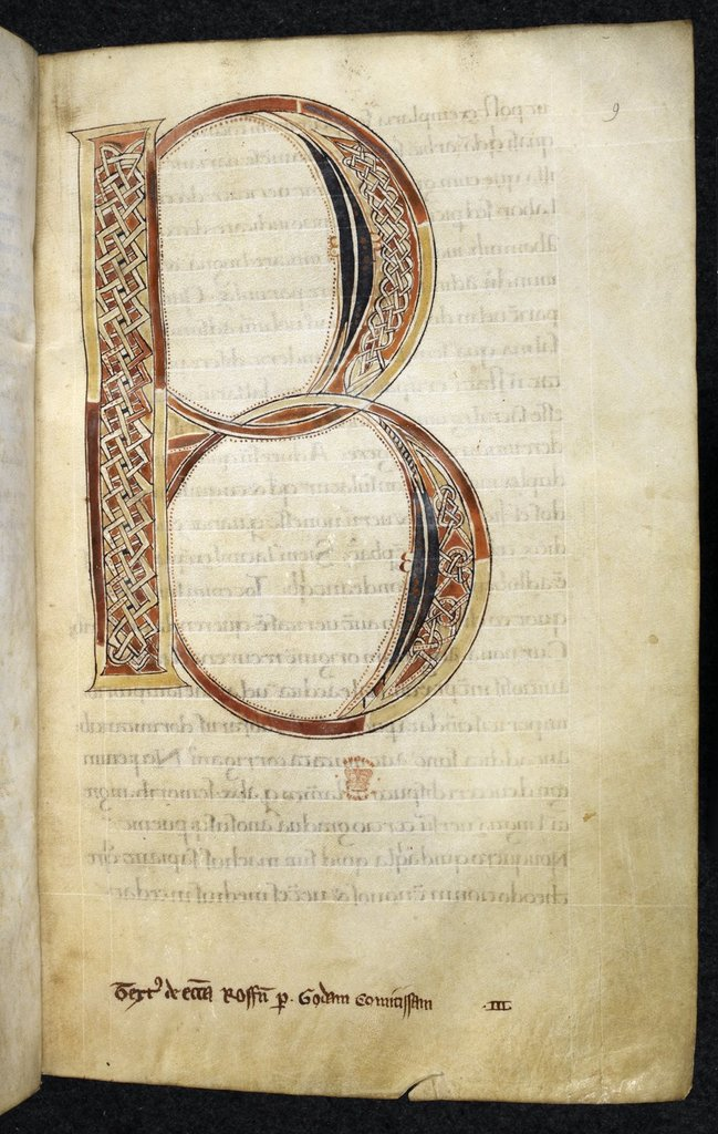 Illuminated initial from BL Royal 1 D III, f. 9