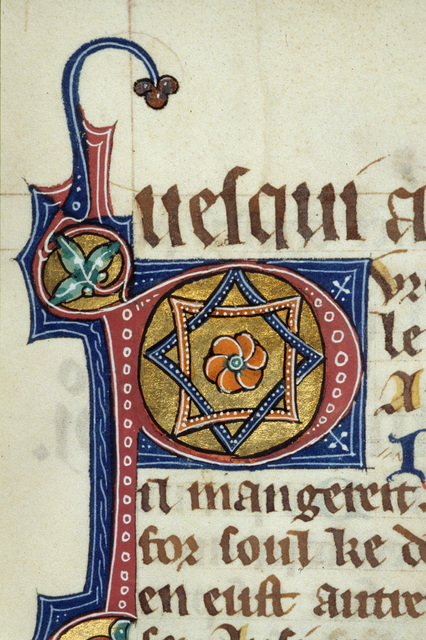 Illuminated initial from BL Royal 15 D II, f. 17v
