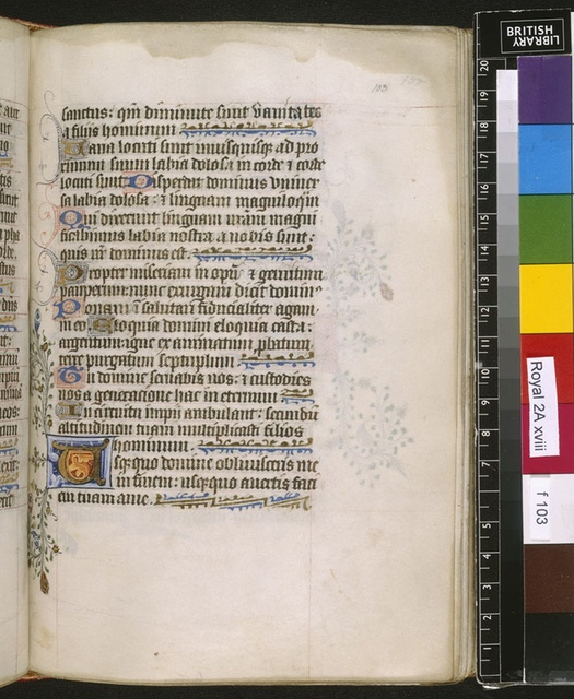 Illuminated initial from BL Royal 2 A XVIII, f. 103