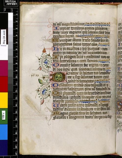 Illuminated initial from BL Royal 2 A XVIII, f. 109v