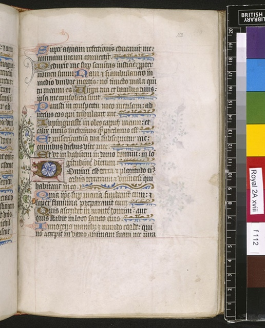 Illuminated initial from BL Royal 2 A XVIII, f. 112