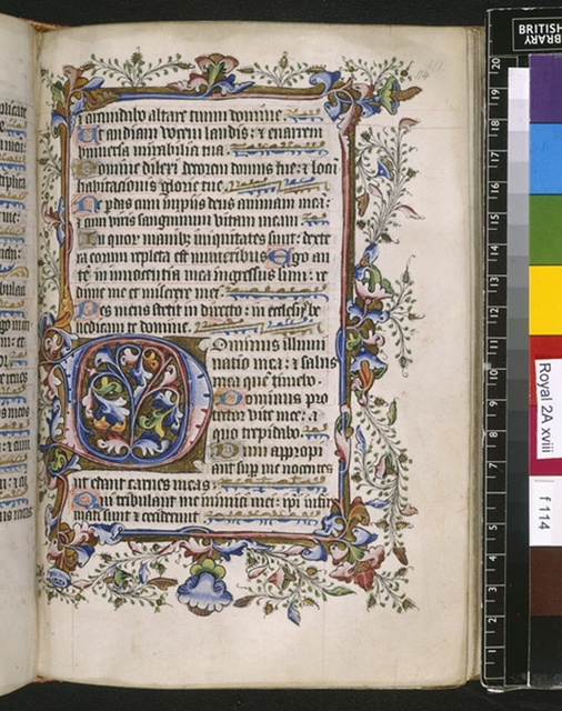 Illuminated initial from BL Royal 2 A XVIII, f. 114