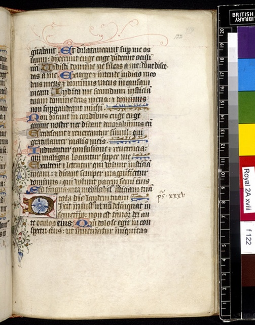 Illuminated initial from BL Royal 2 A XVIII, f. 122