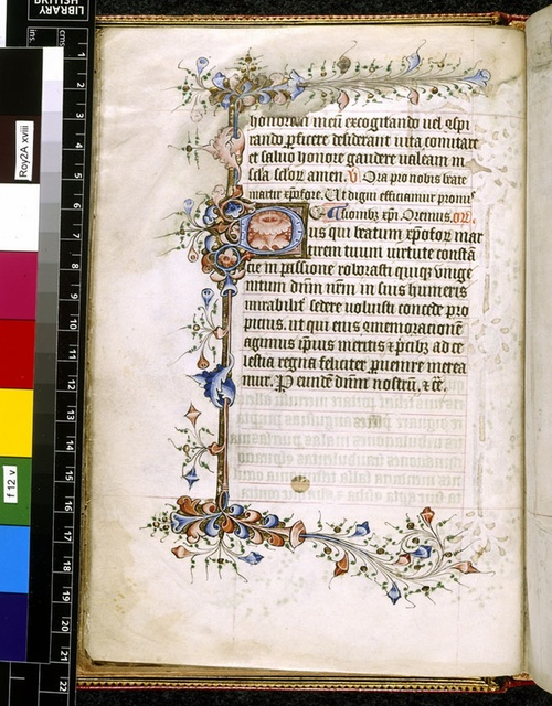 Illuminated initial from BL Royal 2 A XVIII, f. 12v