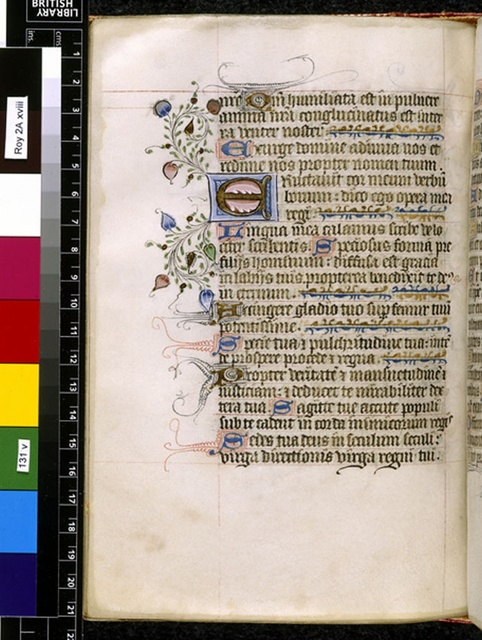 Illuminated initial from BL Royal 2 A XVIII, f. 131v