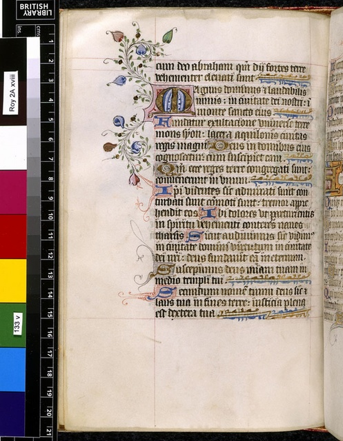 Illuminated initial from BL Royal 2 A XVIII, f. 133v